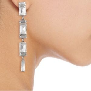 Kenneth Jay Lane Crystal And Silver Toned Earrings